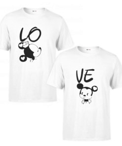 Tee shirtsCouple Mickey and Mini Mouse love,T-shirt personnalisé Pour coupleen Tunisie