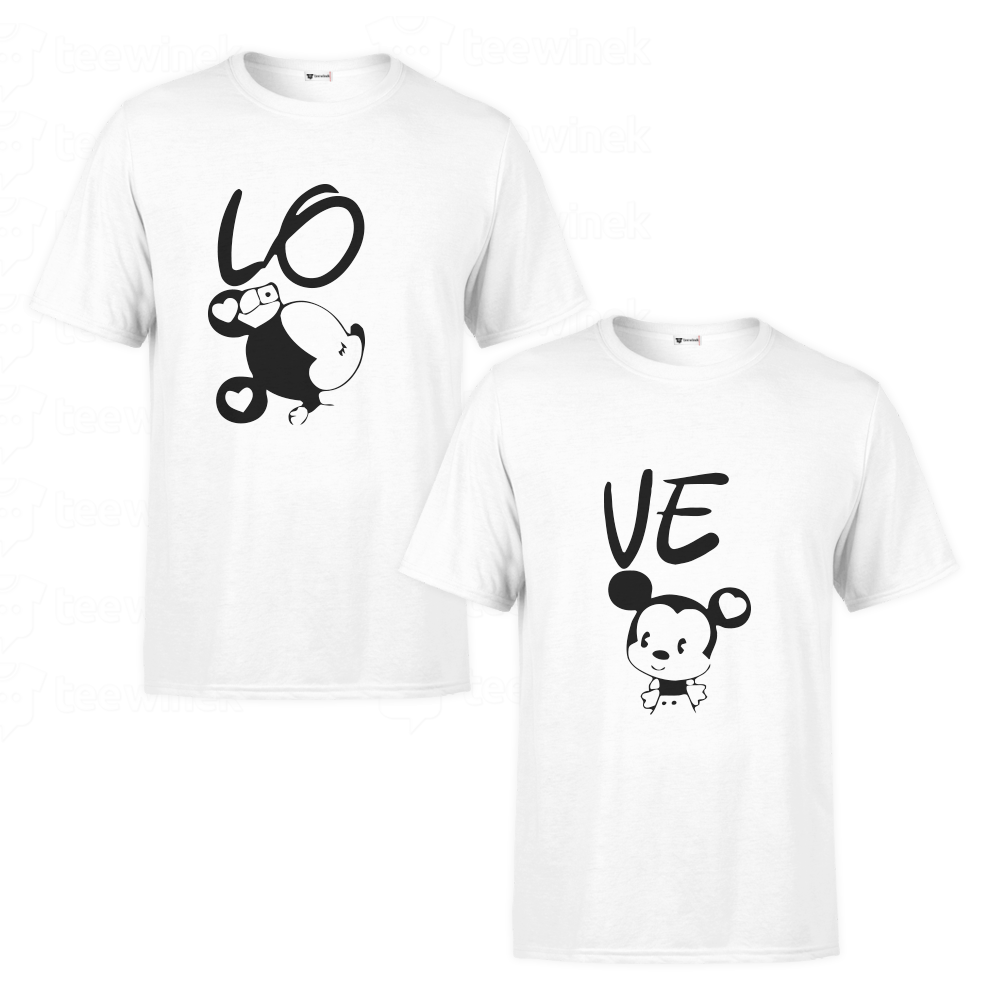 utilisation durable code de promo prix attractif Tee shirts Couple Mickey and Mini Mouse love