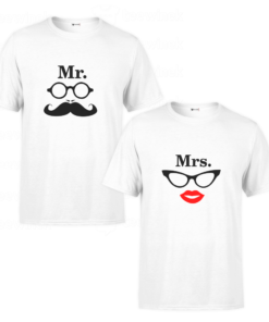 Tee shirtsCouple Mr and Mrs,T-shirt personnalisé Pour coupleen Tunisie