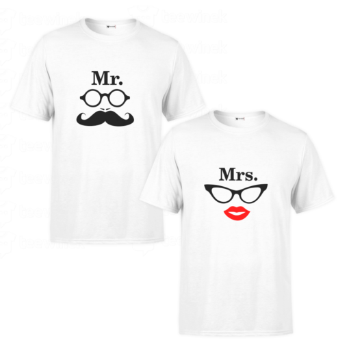 Tee shirts Couple Mr and Mrs, T-shirt personnalisé Pour couple en Tunisie