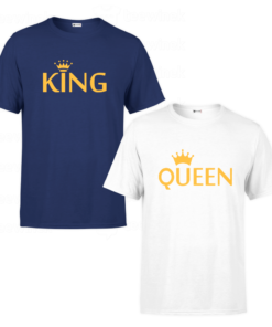 Tee shirts Couple king and Queen v3, T-shirt personnalisé Pour couple en Tunisie