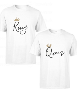 Tee shirts Couple king and queen v2, T-shirt personnalisé Pour couple en Tunisie