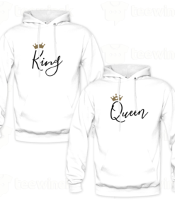 Sweats à capuche couples king and queen v3,Sweats à capuche personnalisé Pour coupleen Tunisie