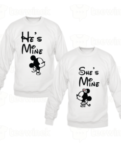 Sweat-shirts Couple he's mine she's mine Mickey, Sweat-shirts personnalisé Pour couple en Tunisie