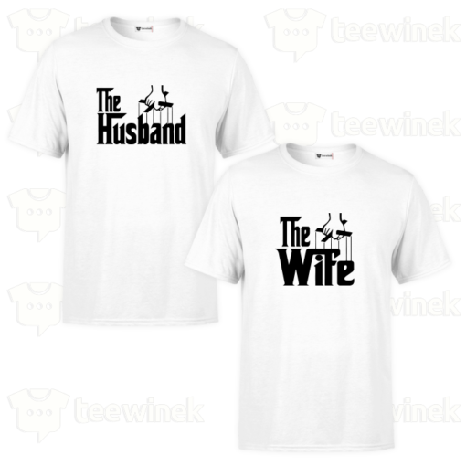 T-shirt Couple the husband and the wife en Tunisie,T-shirt personnalisé Pour couple en Tunisie